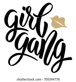 Girl gang. Hand drawn lettering isolated on white background. Design element for poster, greeting card. Vector illustration