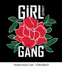Girl Gang Power - fashion patch or badge. Embroidery Rose with Leaves for rock girl gang. T-shirt apparels print for girls with slogan. Vector sticker, pin or patches in vintage punk style.