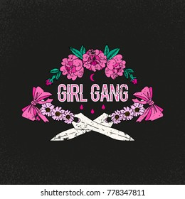 Girl gang slogan. Flower with sword. Rock and roll girl patch. Typography graphic print, fashion drawing for t-shirts. Vector stickers,print, patches vintage