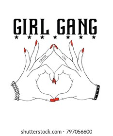Girl gang.Fashion Slogan for T-shirt and apparels graphic vector Print.