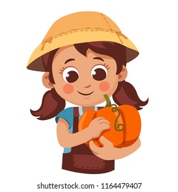 girl in a garden jumpsuit carefully holding a pumpkin. autumn harvest cartoon vector illustration.