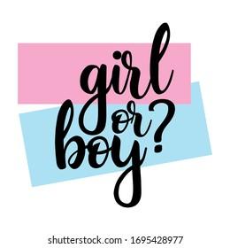 Girl or boy? Gender reveal party card, banner vector element  design