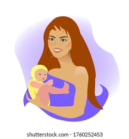 Girl gently hugs son daughter. A woman breastfeeds a child. Young mother with baby. vector flat ilustracation. Mother's Day. the benefit of breast milk.