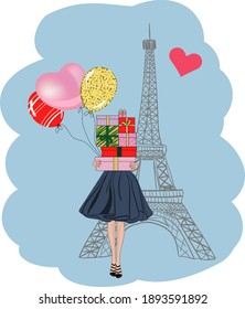 Girl with gifts and balloons at the Eiffel Tower. Valentine's card. Background by February 14. Vector illustration.