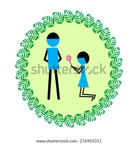 Girl Give Flower Say Sorry Boy Stock Vector Royalty Free 276903311