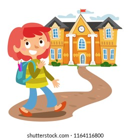 The girl goes to school. Cartoon cheerful style. Vector on white background.