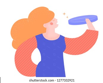 The girl is going to swallow a giant pill. Antidepressants, sleeping pills, treatment of diseases. Vector illustration isolated on white background. Bright trendy character.