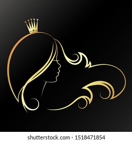 Girl with a golden crown on her head and curls of hair. Silhouette for beauty salon and hairdresser