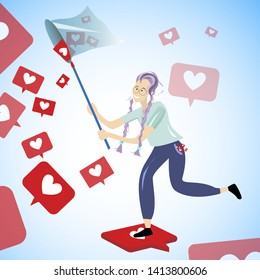 Girl grabbing like and hearts. Vector young grabbing heart online, addiction form notification, catching and grab feedback illustration