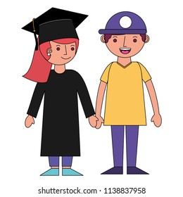 girl graduted with boy avatars characters