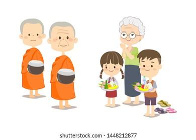 ฺBoy Girl and Grandma Offer Food to The Monks