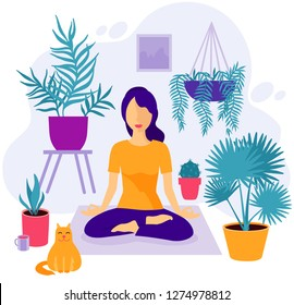 Girl at greenhouse or home garden with plants growing in pots. Relaxed young woman enjoying rest. Girl meditates. Trendy vector illustration in flat cartoon style. Urban jungle. Meditation at Home
