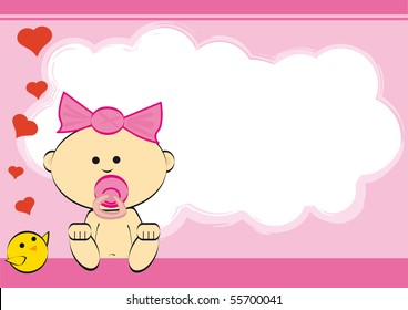 Girl. greeting card of a baby girl.