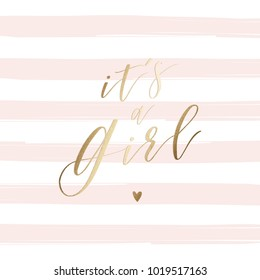It's a Girl - greeting card, baby shower card, baby announcement card with Gold