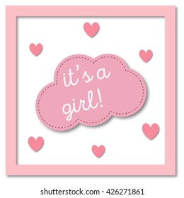 It's a girl. Greeting gift card. Baby shower invitation card. Vector paper card.