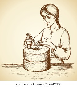 Girl grinds at mill wheel with handle holder filling seeds for processing for cooking. Vector freehand linear ink drawn backdrop sketch in art scribble antiquity style pen on paper with space for text
