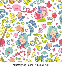 Girl, guitar, coffee cups, sweets and fish. Doodles. Seamless vector pattern (background). Cartoon print.