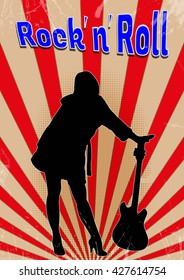 the girl with the guitar on the old rock ' n ' roll poster