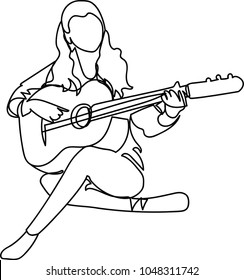 girl with a guitar. single line drawing