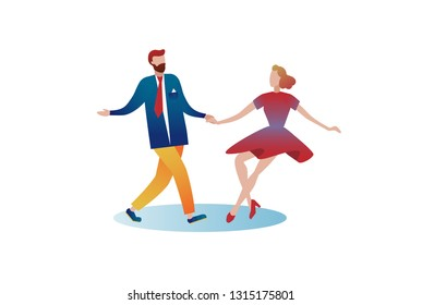 Girl and guy dance jitterbug on an isolated white background. Element for design. Vecotron flat gradient image