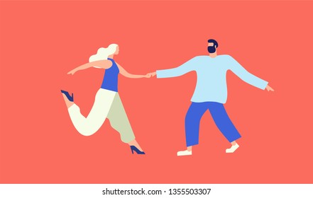 Girl and guy dance jitterbug on an isolated white background. Element for design. Vecotron image