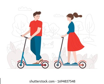 A girl and a guy ride an electric scooter in a city Park. Mobility, ecology, speed. Modern eco-friendly transport. Flat style.