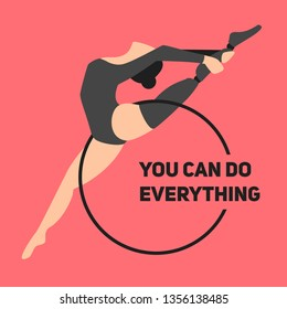Girl gymnast athlete dancer performs an acrobatic exercise. The woman is disabled with a mechanical prosthesis. Paralympic games. Logo for fitness studio with motivating text.Modern flat style.