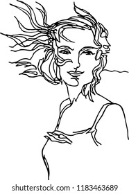 Girl with hair developing in the wind. Fashion style continuous line minimalist illustration, adventure and travel. Fashion beauty. A bold defiant expression.