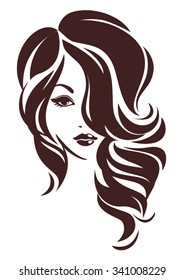 Girl with hair loose, vector logo design
