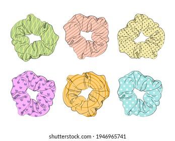 Girl hair scrunchies. Pastel rainbow scrunchies. Vector illustration EPS10