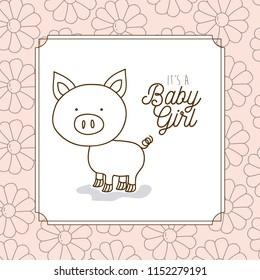 its a girl hand draw invitation card