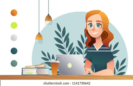 Girl happy study notebook. Sketch school and university vector character in minimalist interior on white backdrop. Cartoon character teenage design.