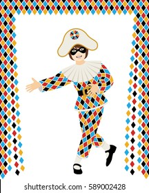 Girl with Harlequin costume bows on white background with curtain