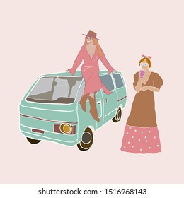 girl in hat, dress and cossacks shoes sitting on the roof of the bus. Woman's coupe on festival. Flat people.