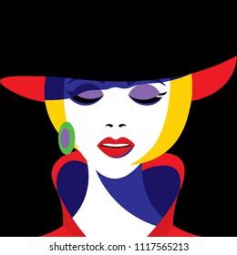 Girl in hat in pop art style. Vector graphics