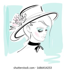 Girl in hat vector fashion portrait