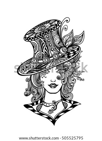 Girl Hat Zen Doodle Zen Tangle Stock Vector (Royalty Free) 9 ...