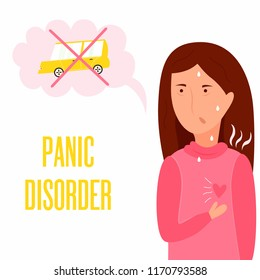 Girl having panic attack. Health problem. Panic disorder illustration, sweating, trembling. breathing difficulties