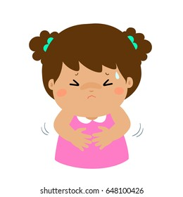 Girl having stomach ache,cartoon style vector illustration isolated on white background. Little child.