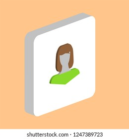Girl Head Avatar Simple vector icon. Illustration symbol design template for web mobile UI element. Perfect color isometric pictogram on 3d white square Girl Head Avatar icons for you business project