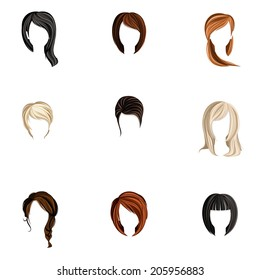Girl head colored hair style silhouette icons set isolated vector illustration