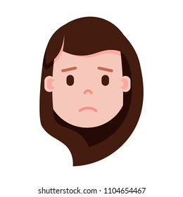 girl head emoji with facial emotions, avatar character, woman grieved face with different female emotions concept. flat design.