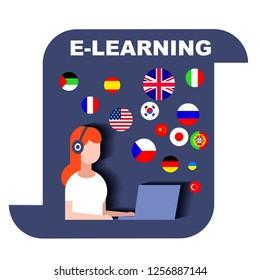 Girl in headphones undergoing e-learning