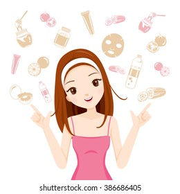 Girl With Health Skin Face And Body Icons Set, Facial, Treatment, Beauty, Cosmetic, Makeup, Lifestyle