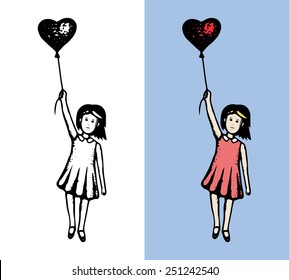 Girl with heart flying. Hand drawn concept in two versions, traced. EPS8.