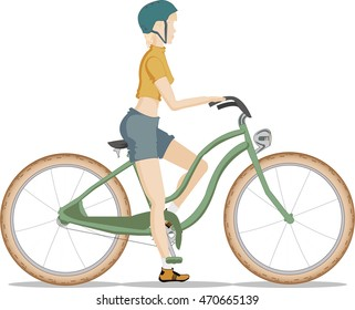 Girl in a helmet on a ladies' bicycle. Sport - is life.
