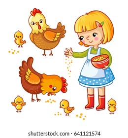 Girl, hens and chickens Isolated on a white background. Vector illustration in children`s, cartoon style.