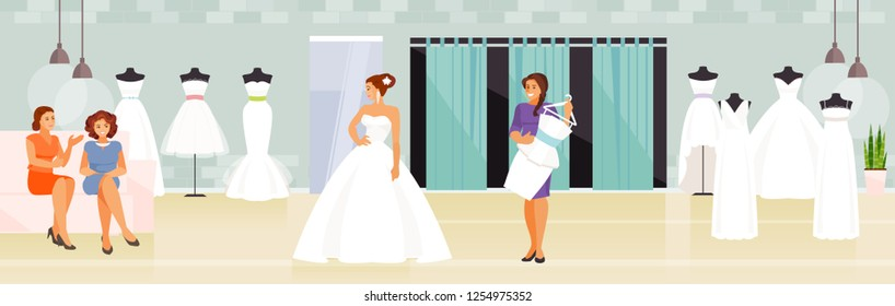 Girl with her friends chooses a wedding dress in a wedding store. Vector illustration