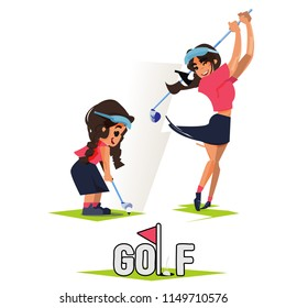 Girl and her future as golf player in Swing Sequence. Then and Now concept. What do you want to be when you grow up.  Dreaming to be a golf player - vector