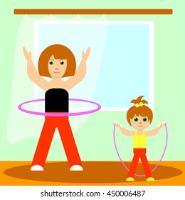girl and her mother doing physical exercises at home